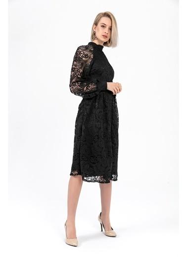 Tiffany&Tomato Dantelli Düğme Detay Gömlek Elbise - Siyah Siyah